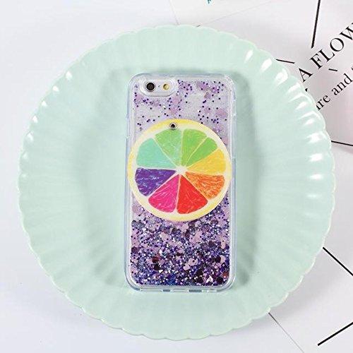 Strawberry Mirror dynamique Quicksand et coeurs liquide PC TPU dur pour iPhone 6s 6Plus 7 7plus purple for iphone 6s plus