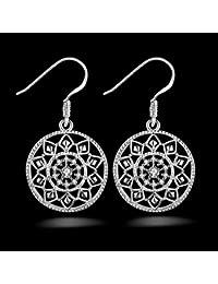 joyería pendientes Ecloud mujeres de 925 de Noble Shop plata manera la de la vrr6UKc