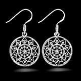 Ecloud Shop® Noble de la manera mujeres de la joyería 925 pendientes de plata