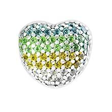 MOCCI 2018 Summer Open My Heart Pave Clip, Multi-Color CZ 925 Silver DIY Fits for Original Pandora Bracelets Charm Fashion Jewelry