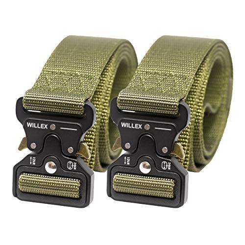 WILLEX 2er Set Unisex taktischer Gürtel mit Metallschnalle Schnellverschluss, Nylon Gürtel in Militärstyle (Armee Grün)