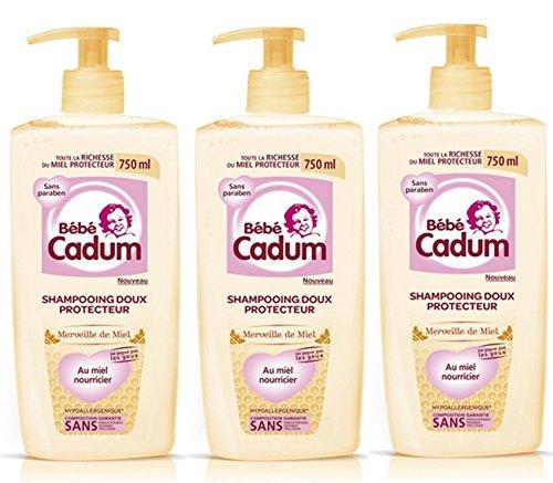 Bébé Cadum Merveille de Miel Shampooing Doux Protecteur Pour Cheveux Fins/Délicats 750 ml - Lot de 3
