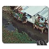 jingqi Mouse Pad,Base in Gomma Antiscivolo,Tappetino per Mouse Bordo Cucito,Padiglione per Computer per Ufficio sul Tetto con Area Residenziale Sull'Acqua del Fiume,Tappetino Liscio,30X25Cm
