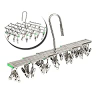 Multipurpose Drying Rack Anti-Wind Desing Clothes Hanger Stainless Steel Swivel Hook Airer Hanger Travel Foldable Clotheshorse with 35 Pegs for Underwear Sock Bra Gloves Clothes