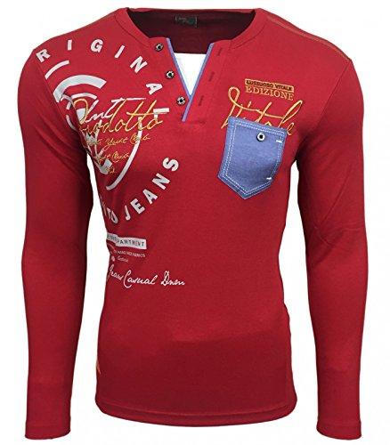 Avroni Herren Longsleeve Longshirt Langarm T-Shirt Vintage Poloshirt Men Fashion, Größe:L, Model:Model 0755 Bordo (Mens Fashion T-shirts)