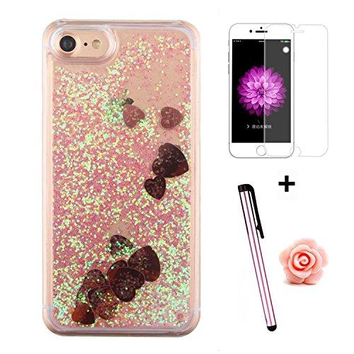 Custodia per iPhone 7 Case,Cover per iPhone 7,TOYYM - Love Heart Star Crystal Case Cover, Resistente Chiaro Trasparente [Bling Liquid] con divertente liquido flottante 3D con lussiosi glitter per iPho Color 25#