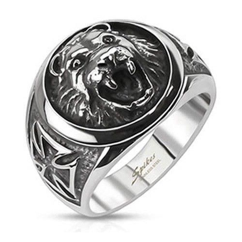 Siegelring Ring Löwenkopf – Herrenring Biker Rocker Edelstahl silberfarben – Ring für Männer, erhältlich in 4 Größen: 59,62,65,67 (Prime Freimaurer Ringe)