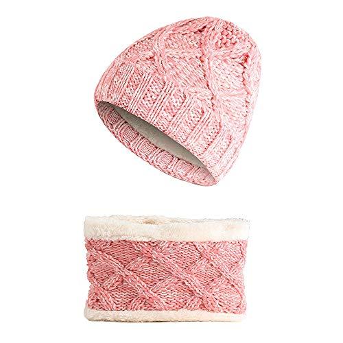 Easy Go Shopping Bonnet tricoté pour Enfants Set de Bonnet pour bébé Earflap Toddler Chaud pour l'automne Hiver. (Couleur : Rose)