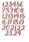 marinamalina adventskalender Zahlen adventskalender bügelbild Adventszahlen zum Aufbügeln Aufkleber Hotfix Bügelbild Textilaufkleber Glitterfolie Glitzerfolie red 24 Stück