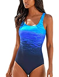 40efe2b3fa Aleumdr Womens Gradient Color X Back Round Neck One Piece Swimsuits Swimwear