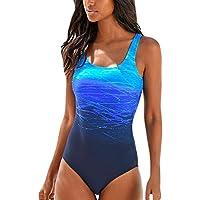Aleumdr Badeanzug Damen Push up Bademode Schwimmanzug Bauchweg Farbverlauf Figurformenden Effekten Rückenfrei Bandeau S-XL