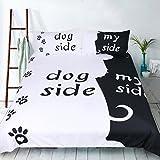 ktlrr mit schwarz-weiß-Bettwäsche-Set mit Hund/Katze auf an meiner Seite Paar Bettbezug mit Kissenbezug-Set aus 100% Mikrofaser-Home, 3Stück, Bettbezug mit 2Kissenbezüge, 1Stück (keine Bettdecke mit Blatt, Dog Side My Side, Single(55