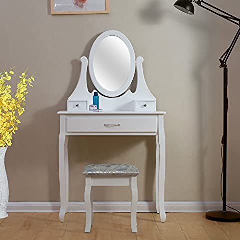 Tason White Dressing Table Set with Adjustable Mirror and Stool,