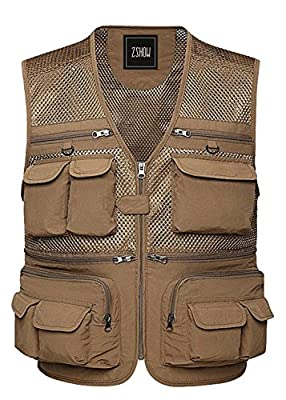 ZSHOW Men's Fly Fishing Vest Outdoor Photography Mesh Waistcoat Jackets