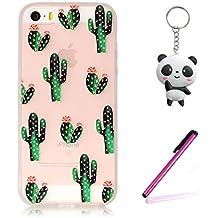 iPhone 5 5S Funda,3D Cactus en flor Diseño Protección Suave Transparente TPU Gel Silicona Teléfono Celular Back Carcasa Para Apple iPhone 5 5S / SE + Dos Regalo