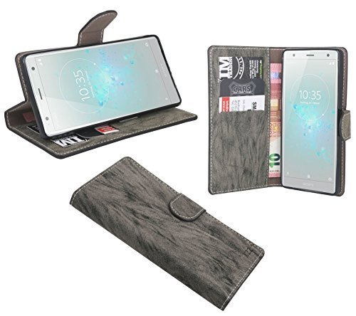 cofi1453 Elegante Buch-Tasche Hülle kompatibel mit Sony Xperia XZ2 in Anthrazit Leder Optik Wallet Book-Style Cover Schale