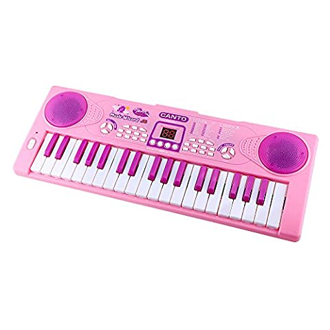 Piano pour enfants, Shayson 37 Key Clavier électronique multifonction Piano Play Piano Orgue avec microphone Jouet éducatif pour enfants en bas âge Enfants Enfants (Rose)
