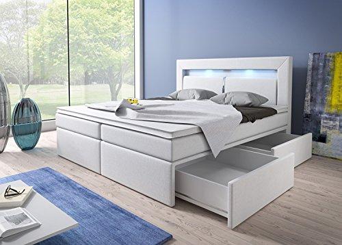 Wohnen-Luxus Boxspringbett 180x200 Weiß mit Bettkasten LED Kopflicht Kunstleder Hotelbett Polsterbett Brüssel