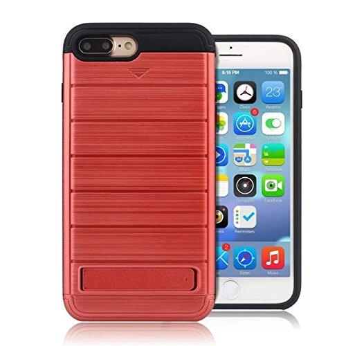 """iPhone 7 Plus Coque,Lantier 2 en 1 Wallet Series Texture de métal brossé Housse de protection rigide avec Kickstand et slot de carte de crédit pour iPhone 7 Plus 2016 5.5"""" Grau Brushed Texture Red"""