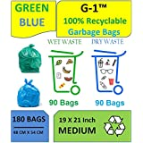 G 1® Medium Disposable Garbage Bags for Wet and Dry Waste (90 Pcs Blue and 90 pcs Green) -3 Packs Each - Total 6 Packs