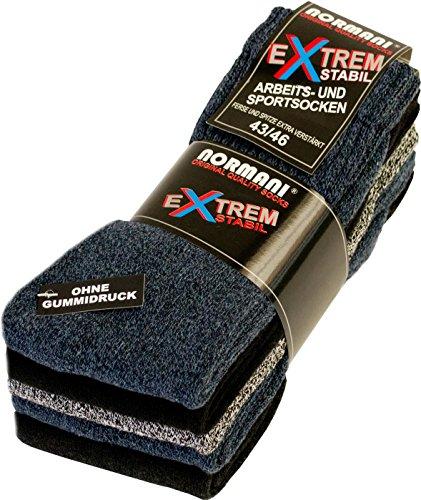 normani 10 Paar EXTREM Stabile Arbeitssocken Socken - Ferse und Spitze EXTRA verstärkt - ohne gummidruck ! Farbe Farbig-gemischt Größe 47-50
