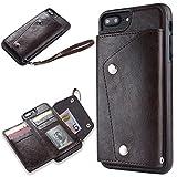 Slynmax Coque iPhone 7 Plus/8 Plus Brown Coque iPhone 8 Plus [Un Stylo Tactile et Une Corde] Mode Luxe Portefeuille Coque Housse Etui de Protection Porte-Carte de Crédit en Cuir iPhone 7 Plus/8 Plus