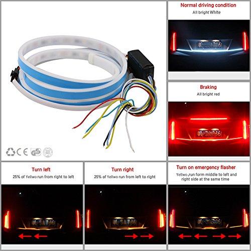RCJ LED Lichtband mit 6 Farb-Modi, Auto-Rücklicht, Kofferraum, Bremse, Blinker, Bremslicht, Wasserdicht, (120cm)