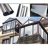 HOHO - Lámina de privacidad para ventana (50 x 200 cm, con espejo de una vía, autoadhesiva, control de calor, antiUV, tinte para ventana para casa y oficina (plata)