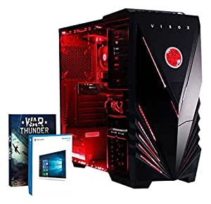 VIBOX Warrior 4XW - Fast 4.1GHz 6-Core, High Spec, Desktop Gaming PC, Computer with Windows 10, WarThunder Game Bundle & Neon Red Internal Lighting Kit PLUS a Lifetime Warranty Included* (3.5GHz (4.1GHz Turbo) AMD FX 6300 Six Core Processor, 2GB AMD Radeon R7 370 HDMI Graphics Card, High Grade 500W PSU, 2TB HDD Hard Drive, 8GB 1600MHz RAM, DVD-RW, SD Memory Card Reader)