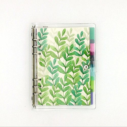 A5 6-ring Loose Leaf Binder Journal W/inserto 80 pagine (DOT Grid/quadrato/a rete bianche/righe) + 6 Index Divider Tabs + 1 Clear pagina Maker + 1 Ziplock sacchetto incluso, ricaricabile