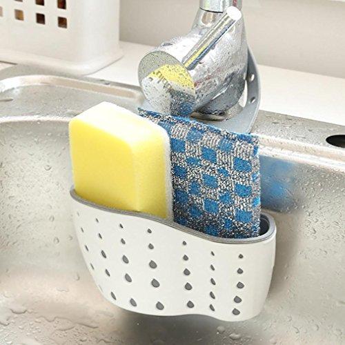 Hunpta Sink Shelf Soap Sponge Drain Rack Bathroom Holder Kitchen Storage Suction Cup (A)