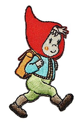 Preisvergleich Produktbild Zwerg mit Rucksack / Schulrucksack 4,4 cm * 7,3 cm Bügelbild Aufnäher Applikation - Schule Zwerge Gartenzwerg kleiner Mann