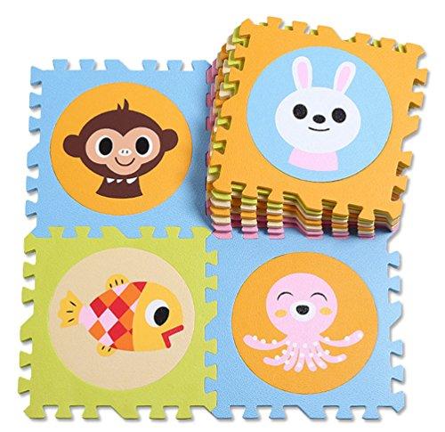 Menu Life Lot de 20enfants souple EVA Tapis de puzzle Tapis de puzzle de sol Rugs numéros de 0–9et 10animaux 30*30*1.4cm