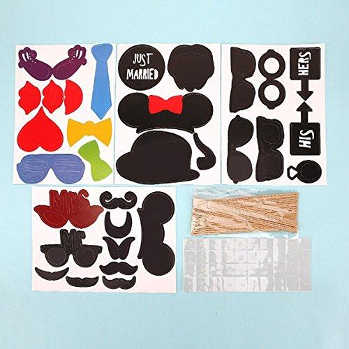 confronta il prezzo Pixnor 31PCS puntelli colorati su un bastone baffi Photo Booth partito divertimento matrimonio natale compleanno bomboniera miglior prezzo