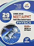 29 Years NEET/AIPMT Topic Wise Solved Papers - Physics (1988 - 2016)