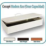 CANAPÉ MADERA ECO GRAN CAPACIDAD AP. LATERAL - CAJÓN MADERA BLANCO- TAPA 3D BLANCO, 105 x 200 cm.