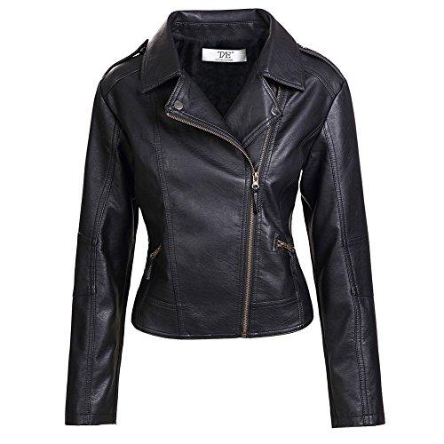 Donna Giubbotto Punk Stile Moto Collare Turndown Zip In Pelle Pu Cappotto Giacca nero-Pelliccia Fodera