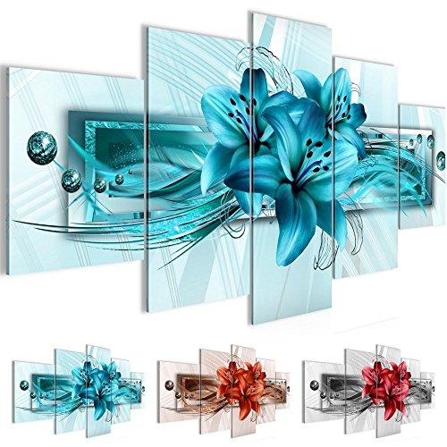 Bilder Blumen Lilien Wandbild 200 x 100 cm Vlies - Leinwand Bild XXL Format Wandbilder Wohnzimmer Wohnung Deko Kunstdrucke Blau 5 Teilig -100% MADE IN GERMANY - Fertig zum Aufhängen 008751a