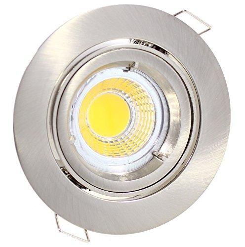 LED Einbaustrahler schwenkbar 5W warmweiss 230V GU10 edelstahl-gebürstet