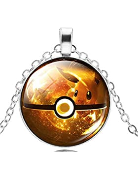 Pkmn2 - Pokemon Poke-Kugel-Halskette Go 'Pokeballs In 6 Farben zur Auswahl (Gelb)