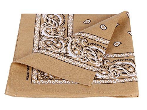Bandana beige scuro paisley multifunzione classica BA-70 di colori diversi foulard scialle collo rocker biker motociclista motorcycle pirata accessorio hip hop cappellino cowboy bracciale