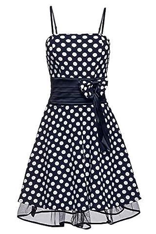 Laeticia Dreams Damen Kleid Petticoat Rockabilly S M L XL, Farbe:Blau/Weiß Punkte