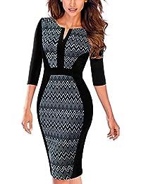 HOMEYEE Women s Vintage 3 4 Sleeve Bodycon Sheath Pencil Dress B409 801486d3d