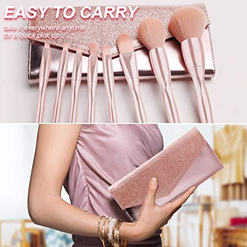 Jaspik Makeup Brushes Set Generic for Girls, 8pcs Professional Makeup Brush for Face Eye Shadow Eyeliner Foundation Brush Lip Powder Liquid Cream,Makeup Brush Kit for Daily Life and Travel (Pink)