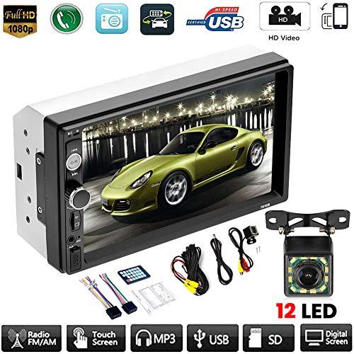 znwiem 7inch Double 2 DIN Auto MP5 Player Bluetooth Touch Screen FM Stereo Radio Empfänger Unterstützung (12Led HD Rückfahrkamera)