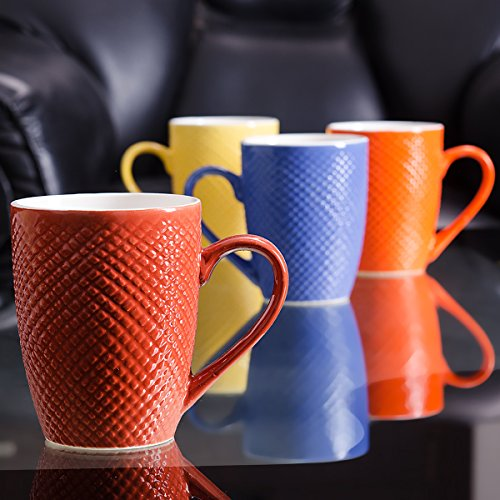 Large 330ml Attractive Dot Pattern Multicolor Set of 4 Coffee Mugs.
