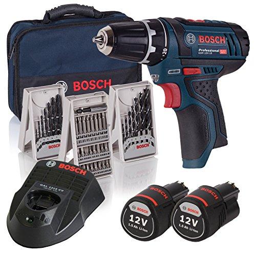 Bosch Professional GSR 10,8-2-LI Trapano Avvitatore a Batteria con Accessori, 10.8 V, Blu