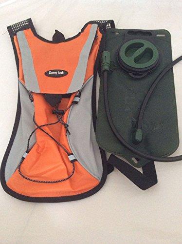 sunnyluck Hydration Pack Wasser Rucksack Blase Tasche Radfahren Wandern Klettern Beutel + 2L Trinkblase Orange - orange