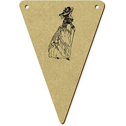 5 x 100mm 'Vintages Französisches Kleid' Wimpel / Banner aus Holz (Kleid Flagge Französische)