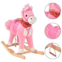 COSTWAY Rocking Horse with Music Function, Handle Grip, Active Mouth, Wagging tail, 40KG Capacity, Kids & Children Traditional Toy